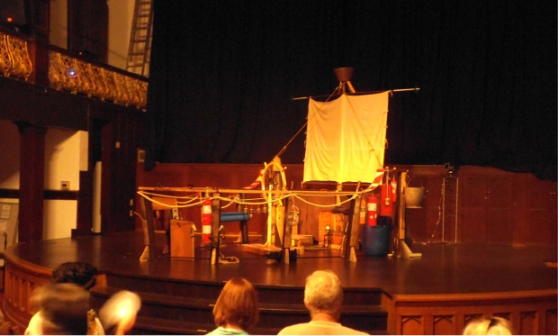 The set of The Hudson Bay, before the performance.
