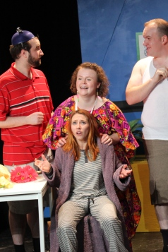 Jane loses grasp of reality and her own identity in Christopher Durang's 'dentity Crisis. Pictured (left to right): Alan Johnson, Hayley Feigs (Back), Elisa Benzer (Front), DJ Gellatly. Photo Credit: Chelsey Fawcett