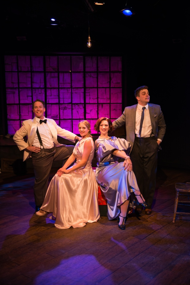 Stewart Lemoine's What Gives? opens Lunchbox Theatre's 2015/16 season. From left to right: Niel Minor, Jamie Matchullis, Katherine Fadum, Mathew Hulshof. Photo Credit: Benjamin Laird Arts & Photo.
