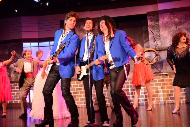 Sammy (Ian Ronnigen), Robbie (Aidan Desalaiz), and George (Andrew McGillivray) are a hit at all the weddings in New Jersey. Image provided by Stage West.