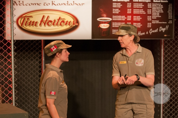 Lunchbox Theatre is accepting non-perishable food items for the Veteran's Food Bank. Pictured, left to right: Amy Sawka and Barbara Gates Wilson. Photo Credit: Benjamin Laird Arts & Photo